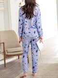 Women's 2 Pcs Sleepwear Cartoon Pattern Bow Decor O Neck Long Sleeve Comfy Pajamas Set