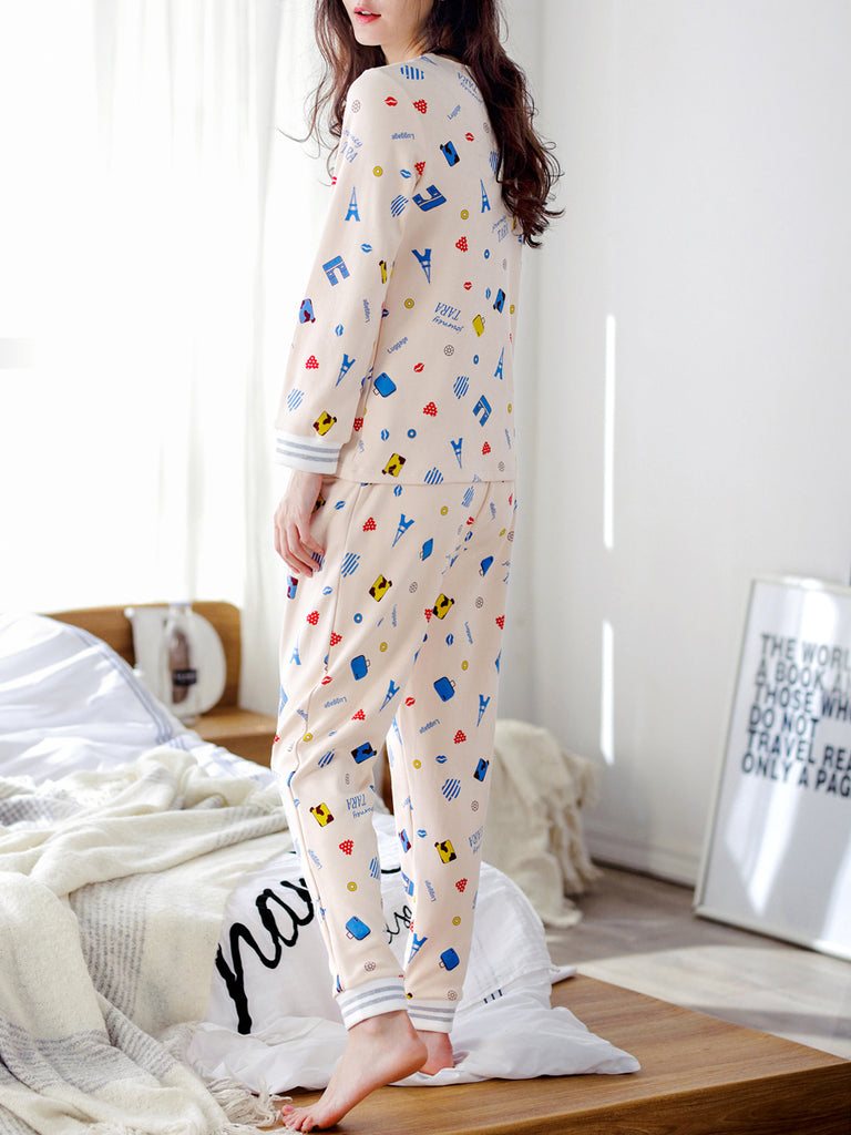 Women's 2 Pcs Sleepwear Cartoon Pattern V Neck Long Sleeve Comfy Pajamas Set