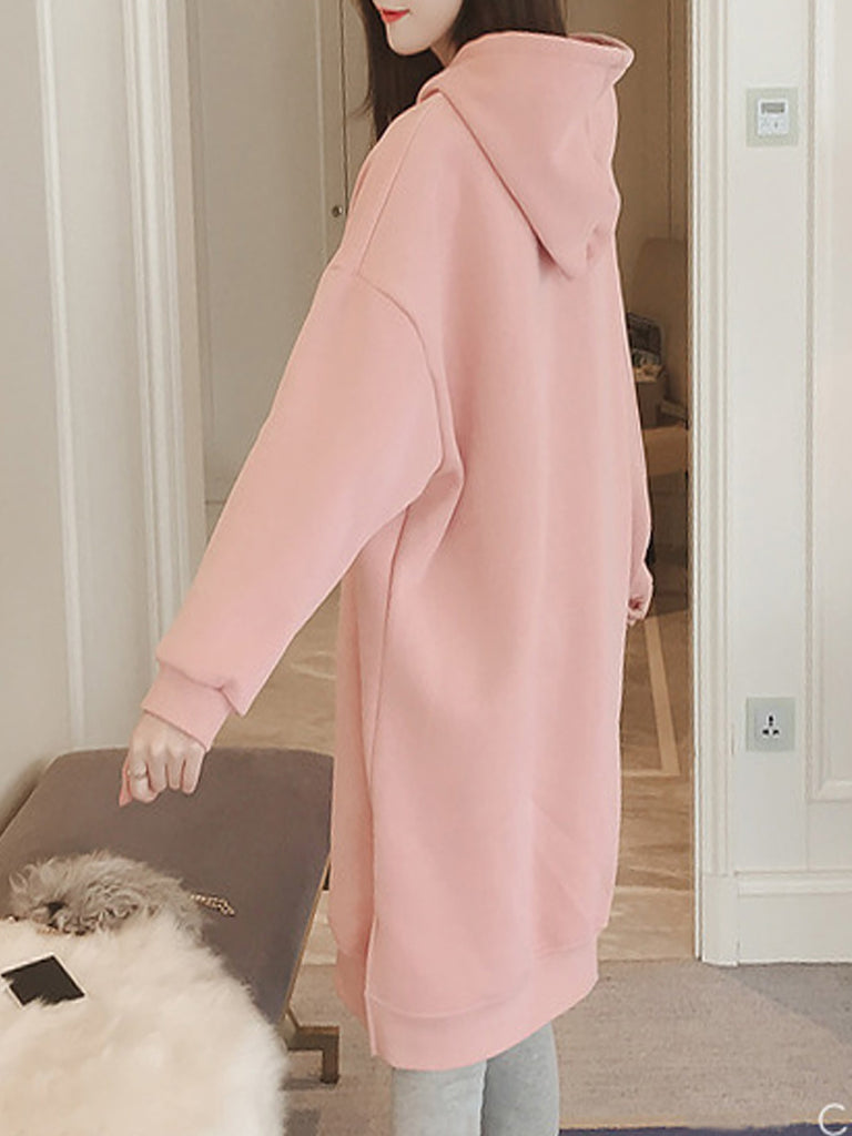 Women's Dress Solid Color Print Long Sleeve Hooded Dress