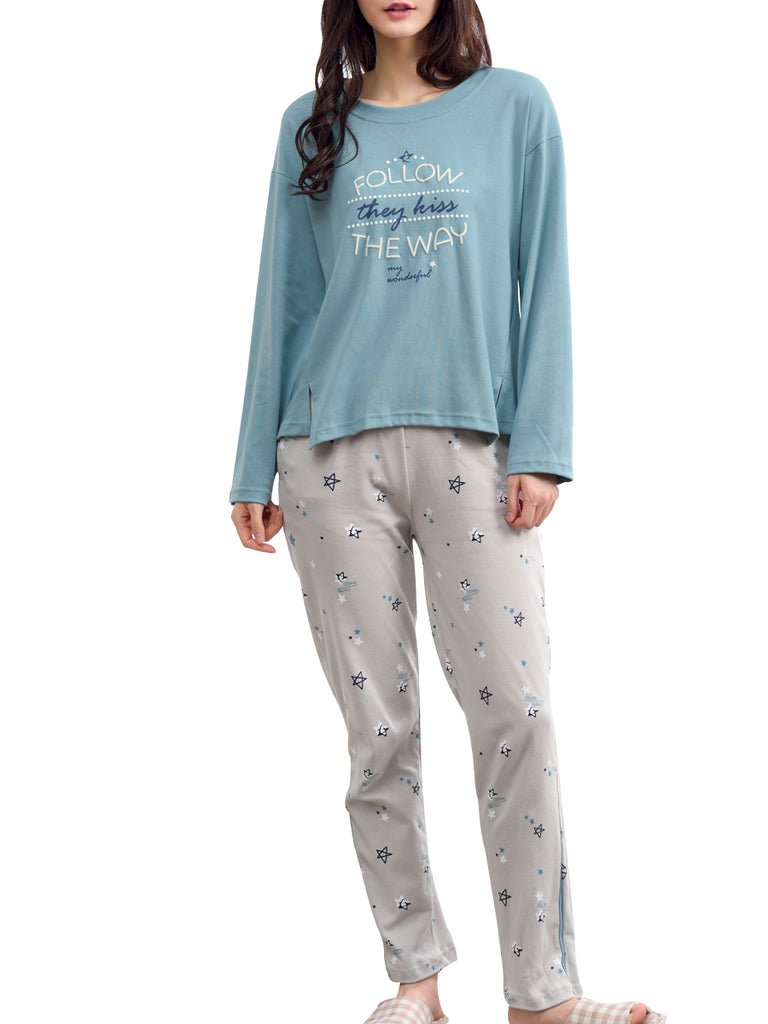 Women's Sleepwear Set Casual Letters Star Pattern O Neck Long Sleeve Cozy Home Suit