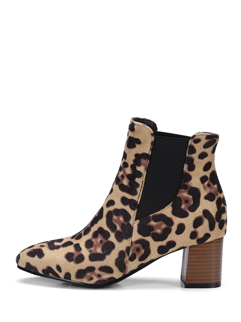 Women's Ankle Boots Leopard Pattern Thick-Heeled Boots