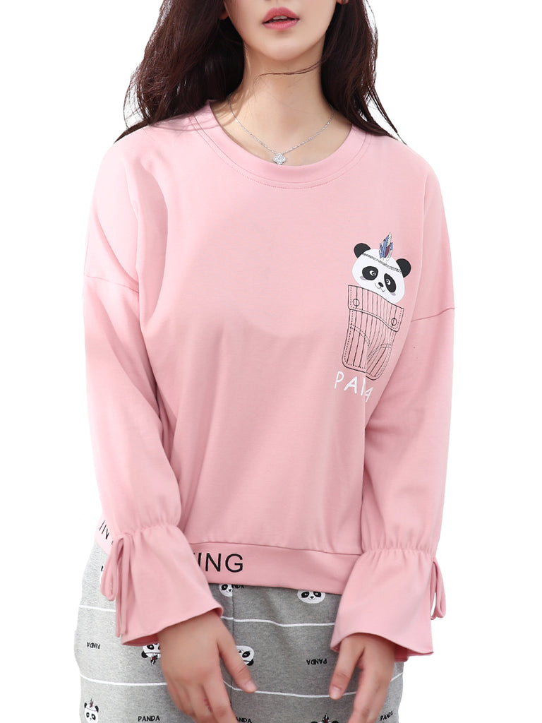Women's 2 Pcs Sleepwear Cartoon Panda Pattern O Neck Long Sleeve Bow Decor Comfy Pajamas Set