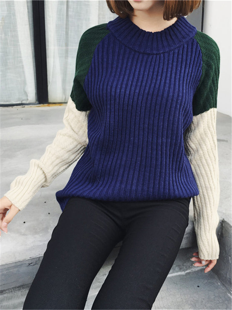 Women's Pullover Long Sleeve Color Block All Match Casual Sweater