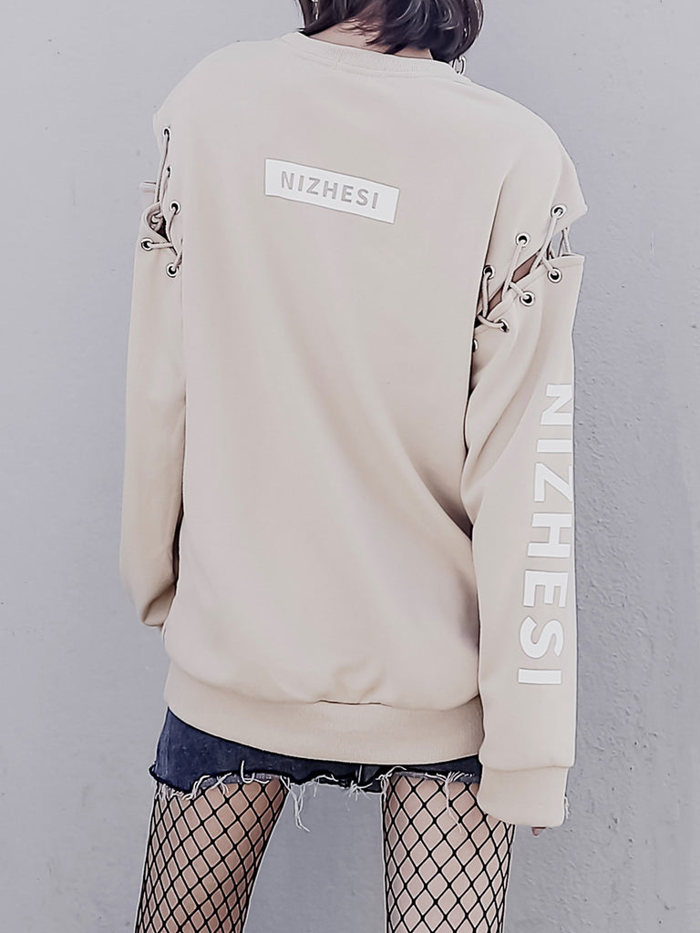 Women's Sweatshirt Hollow Out Long Sleeve Loose Sweatshirt
