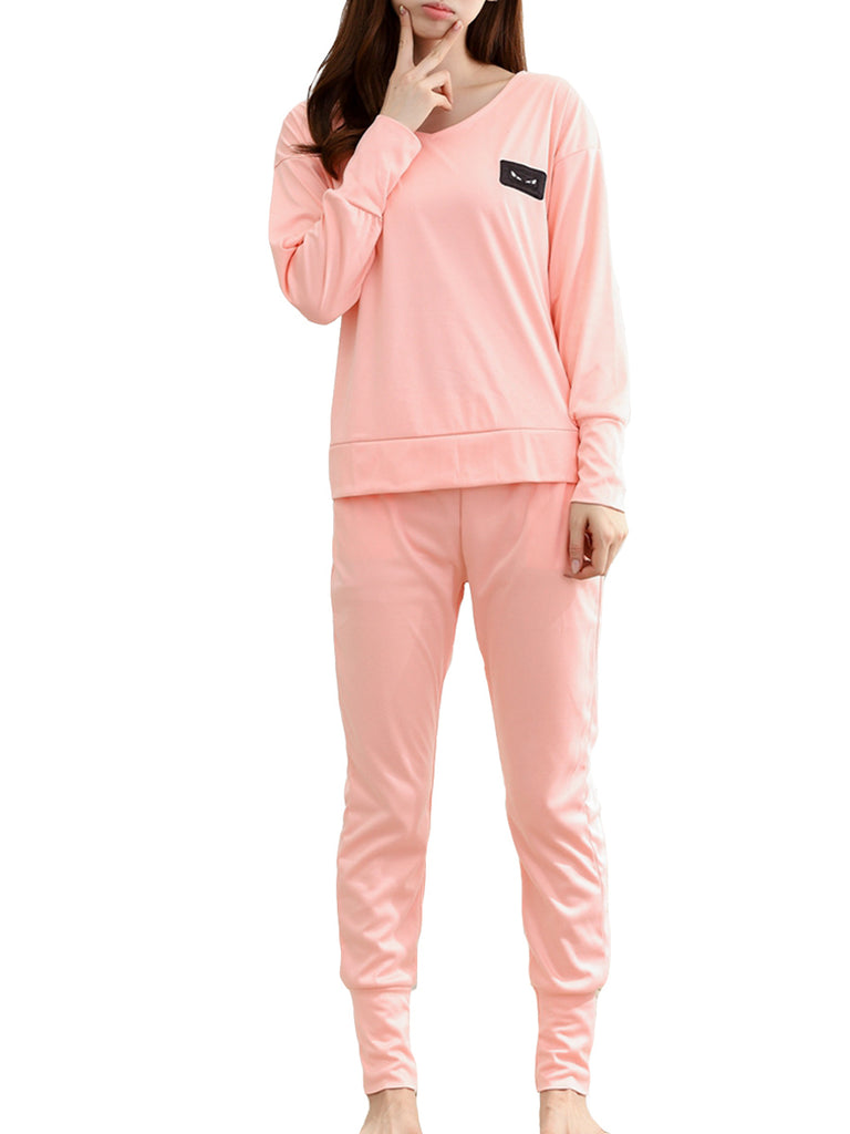 Women's 2 Pcs Home Suit Solid Color Pocketed Long Sleeve O Neck Casual Pajamas Set