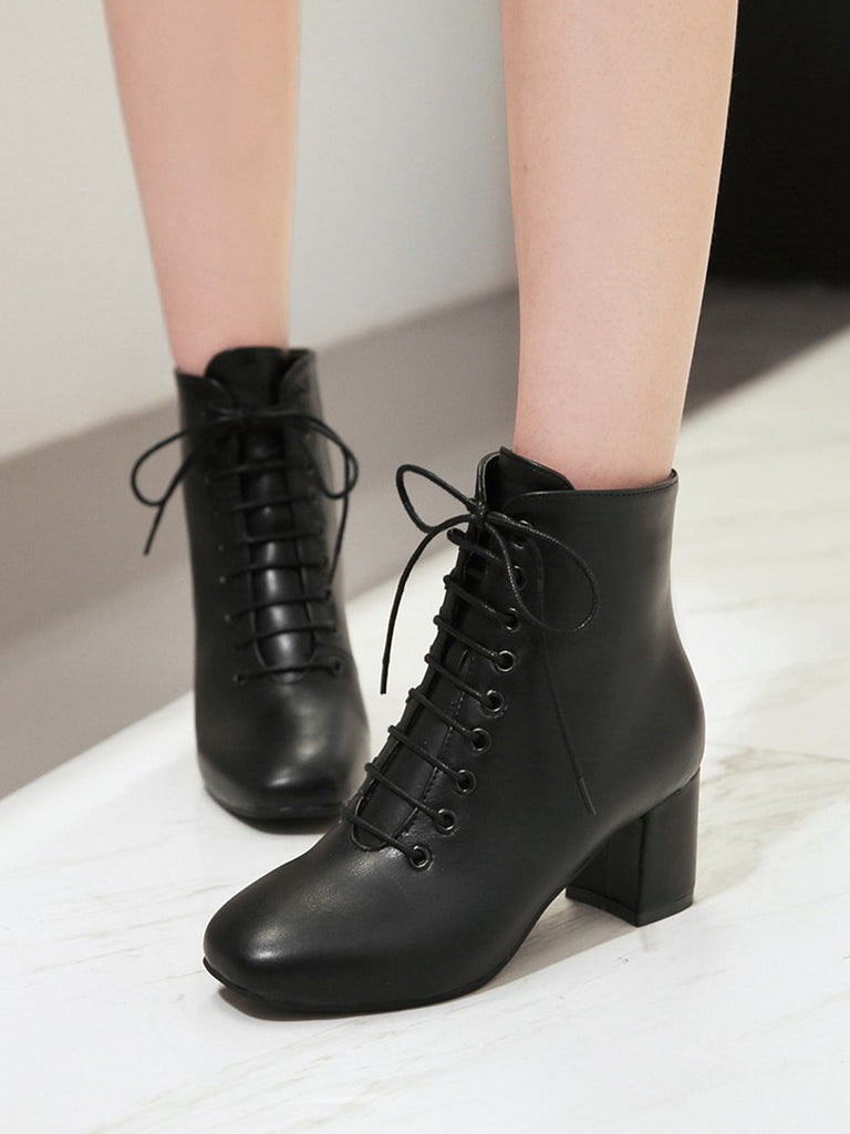 Women's Ankle Boots Stylish Thick Heel Lace Up Casual Chic Women's Shoes