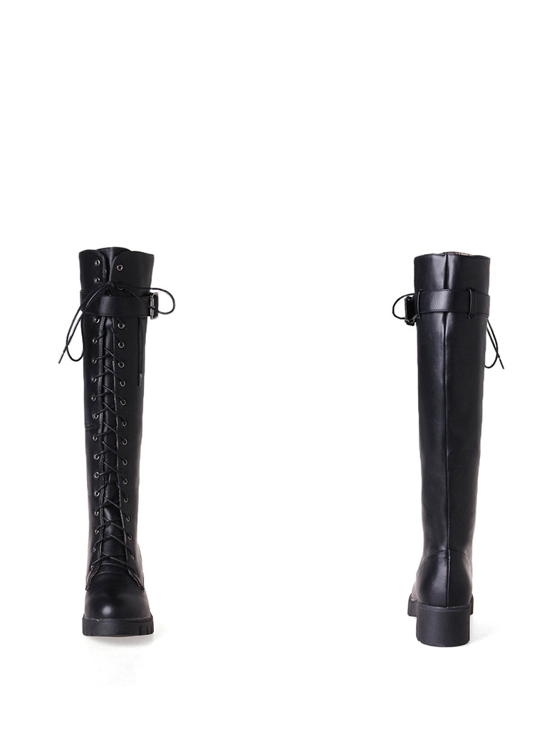 Women's Knee Length Boots PU Material Round Toe Cross Lace Up British Style Knight Shoes