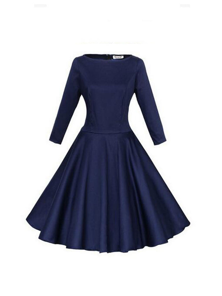 Women's Pleated Dress Long Sleeve Solid Color Aline Dress