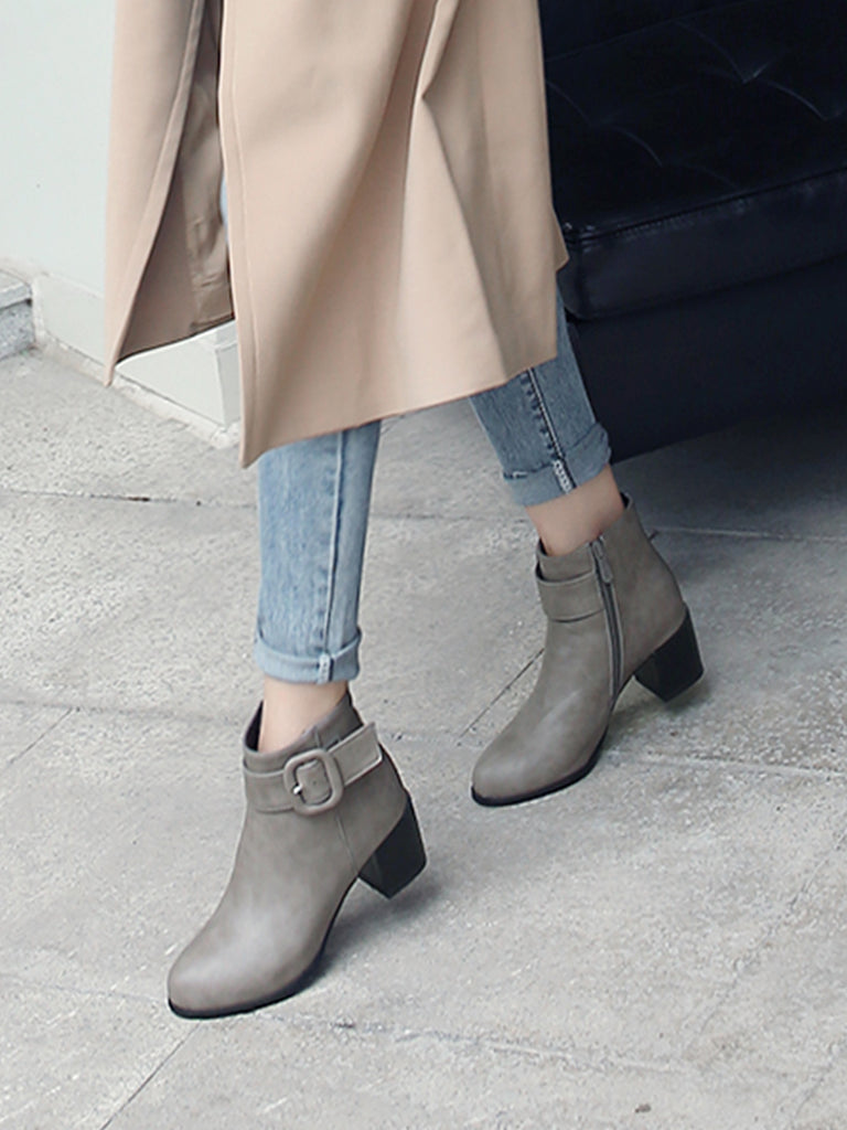 Women's Ankle Boots Buckle Decoration Zipper Up Simple All Match Boots