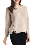 Women's Pullover O Neck Long Sleeve Lacing Solid Color Casual Sweater