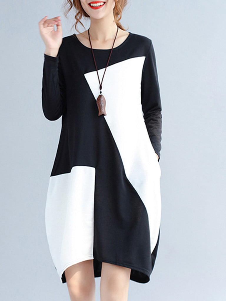 Women's Dress Color Block O Neck Long Sleeve Loose Dress