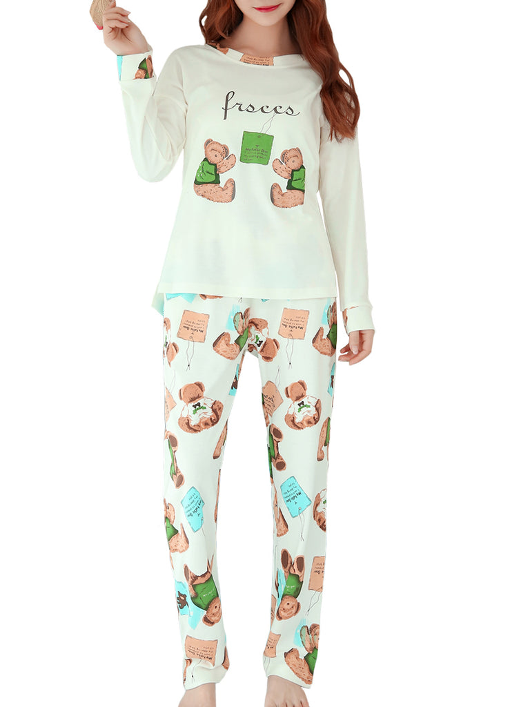Women's Pajama Set Sweet Bear Pattern O Neck Long Sleeve Comfort Casual Home Suit