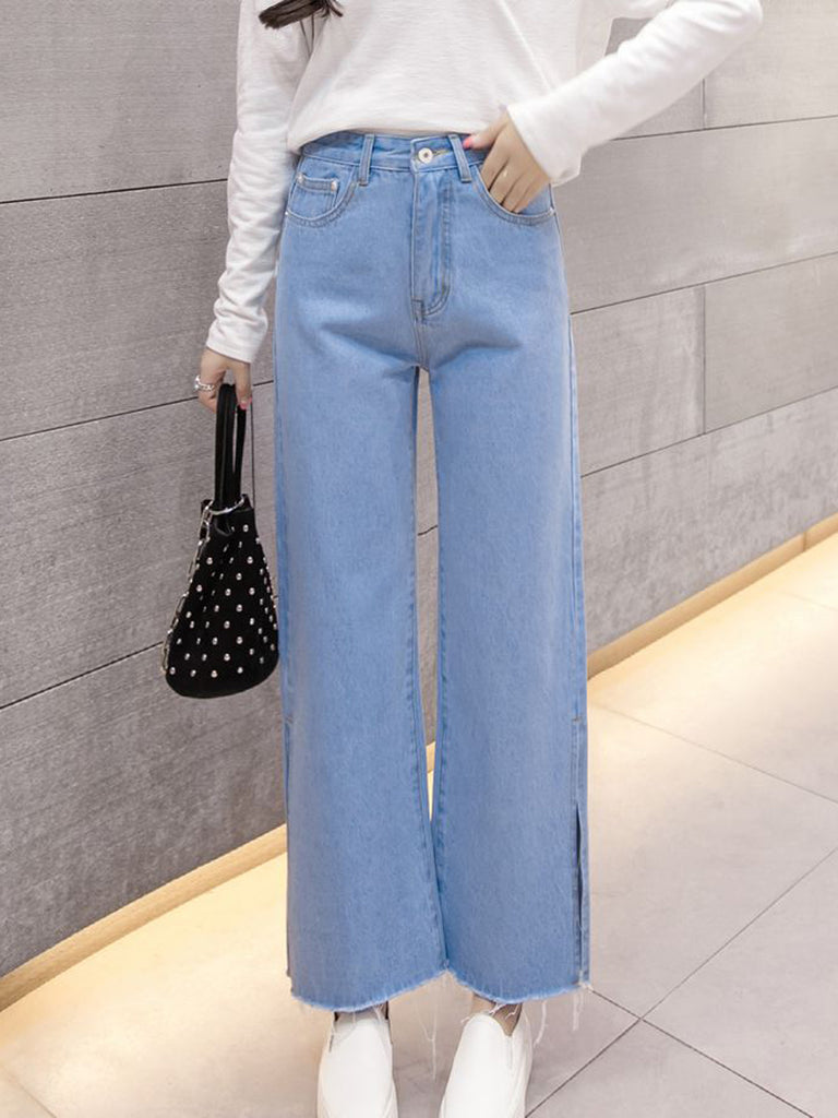 Women's Jeans Solid Color Loose Split Top Fashion Cozy Jeans