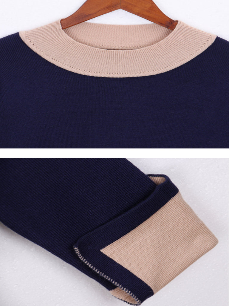 Women's Simple Sweater All Match Contrast Color Pullover