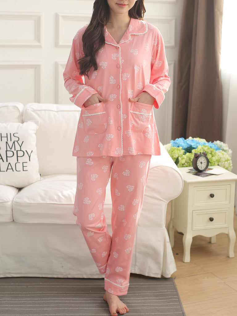 Women's Pajama Set Sweet Heart Pattern Turn Down Collar Long Sleeve Cozy Home Suit