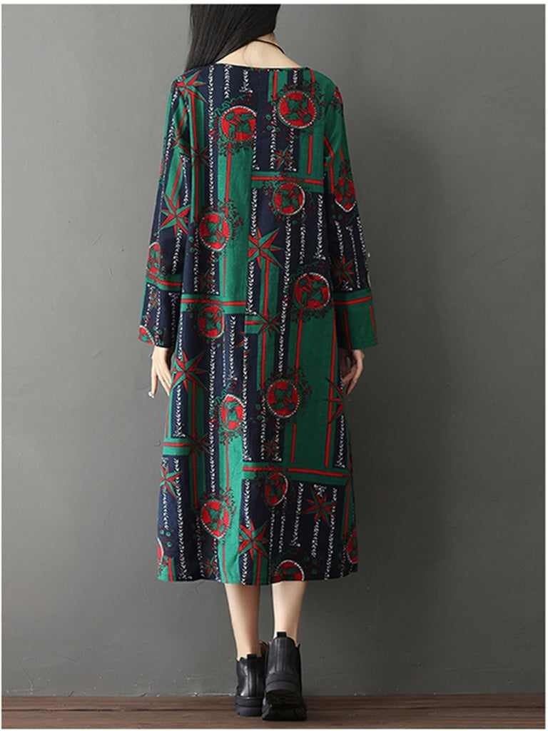 Women's Dress Long Sleeve Floral Pattern Color Block Dress