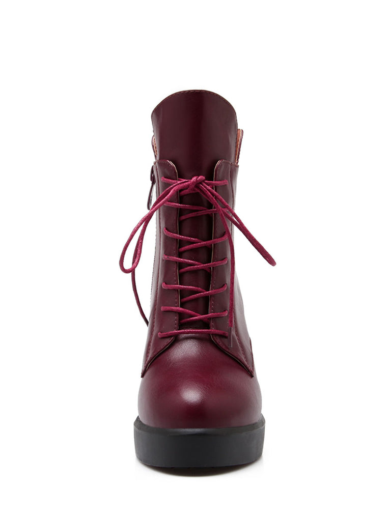 Women's Bottine Solid Color Comfy Round Toe Lace Up High Heel Boots