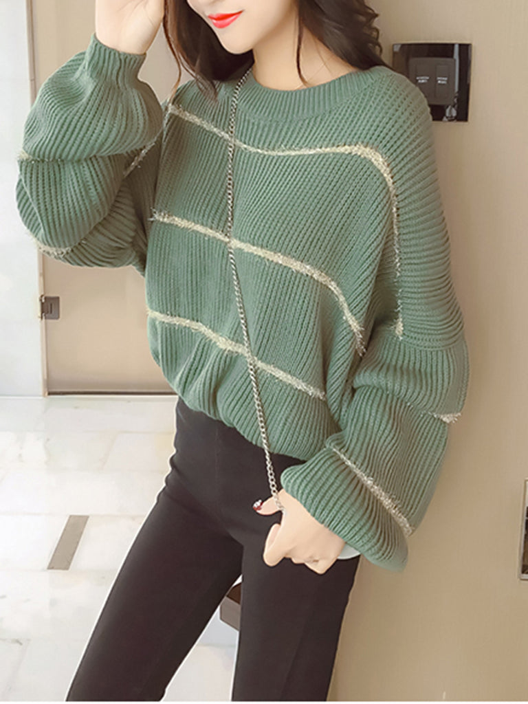 Women's Sweater Striped Long Puff Sleeve O Neck Sweater