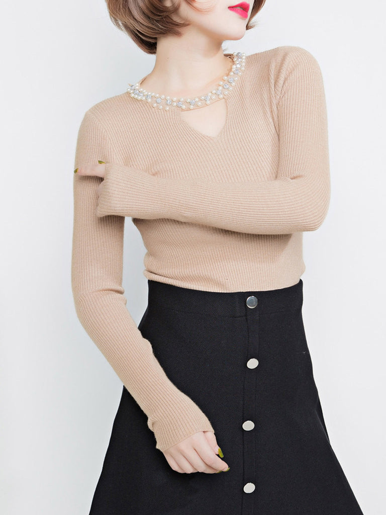 Women's Sweater V Neck Solid Color Elegant Pullover