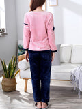 Women's 2 Pcs Home Suit Letter Pattern O Neck Long Sleeve Thicken Comfy Pajamas Set