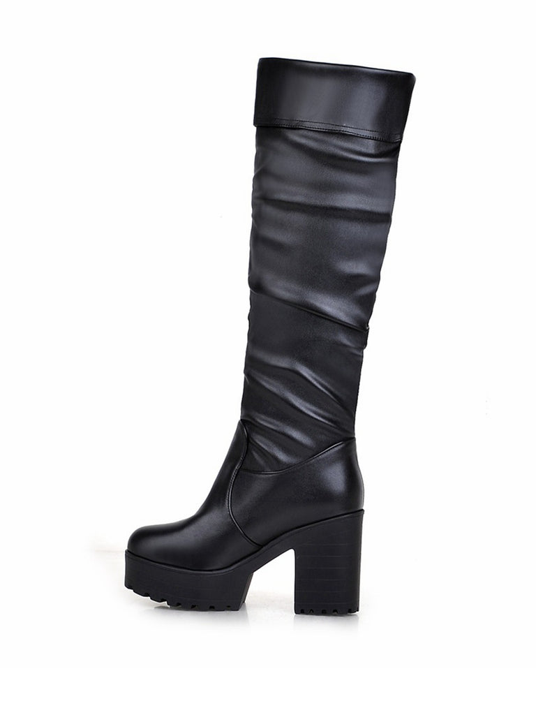 Women's Knee Length Boots Personalized Round Toe Vogue Thick Heel Shoes