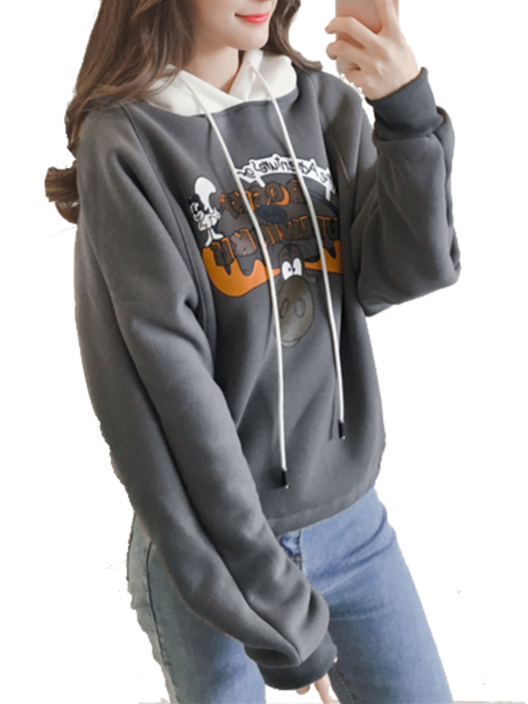 Women's Hoodie Color Block Cartoon Casual Hoodie