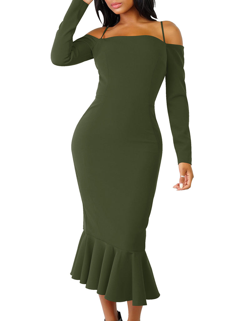 Women's Dress Elegant Sexy Solid Color Ruffles Off Shoulder Long Sleeve Mermaid Dress