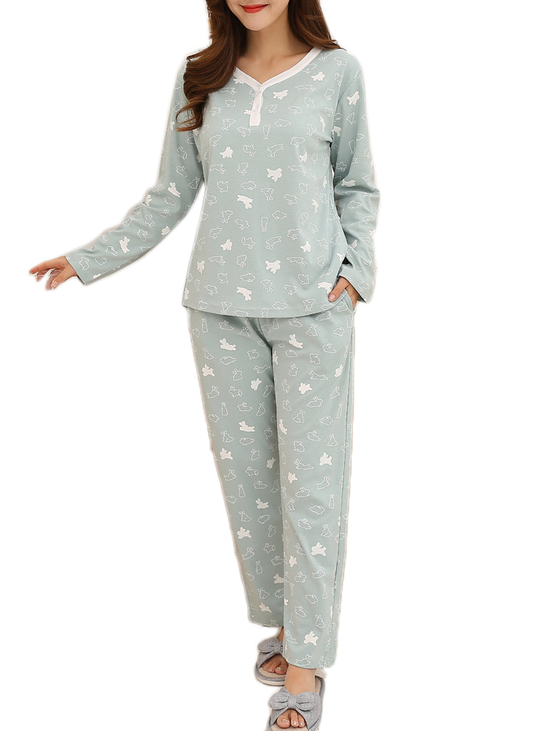 Women's Sleepwear Set Sweet Cartoon Pattern Button Decor V Neck Long Sleeve Home Suit