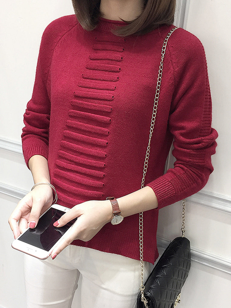 Women's Sweater All Match Long Sleeve Solid Sweater