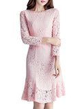 Women's Mermaid Dress Solid Color Lace Long Sleeve O Neck Slim Midi Dress