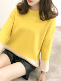Women's Sweater O Neck Loose Color Block Casual Sweater