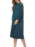 Women's Dress Solid Patchwork Long Sleeve Hollow Out Stylish Dress