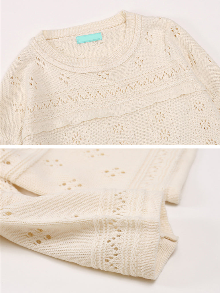 Women's Sweater Solid Hollow Out Patchwork Sweet Knitwear