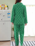 Women's Pajama Set Sweet Turn Down Collar Long Sleeve Cute Pocketed Cozy Home Suit