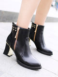 NAIYEE Women's Bottines Chic Solid Color Pointed Toe Thick Heel Rivet Side Zipper Ankle Boots