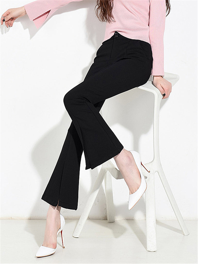 Women's Flared Pants High Waisted Solid Color Slim Fit Cropped Pants