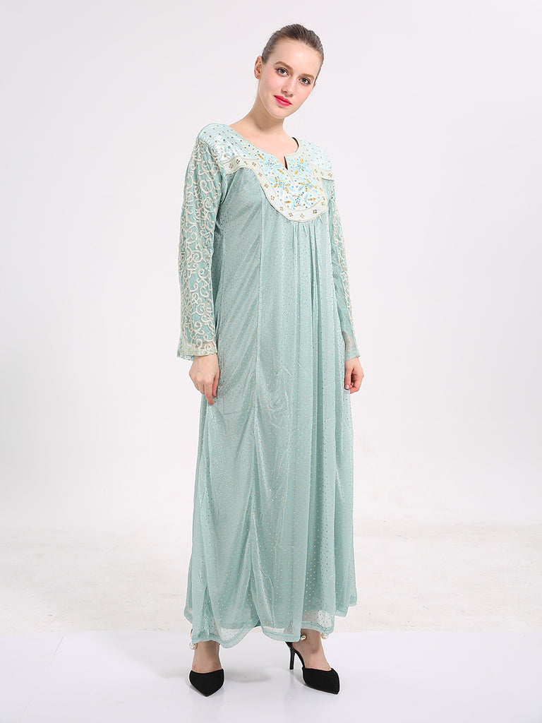 Women's Kaftan Dress O Neck Long Sleeve Lace Patchwork Maxi Long Arabian Dress