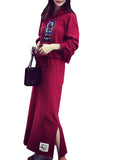 Women's Suits Hooded Long Sleeve Print Skirt Suits
