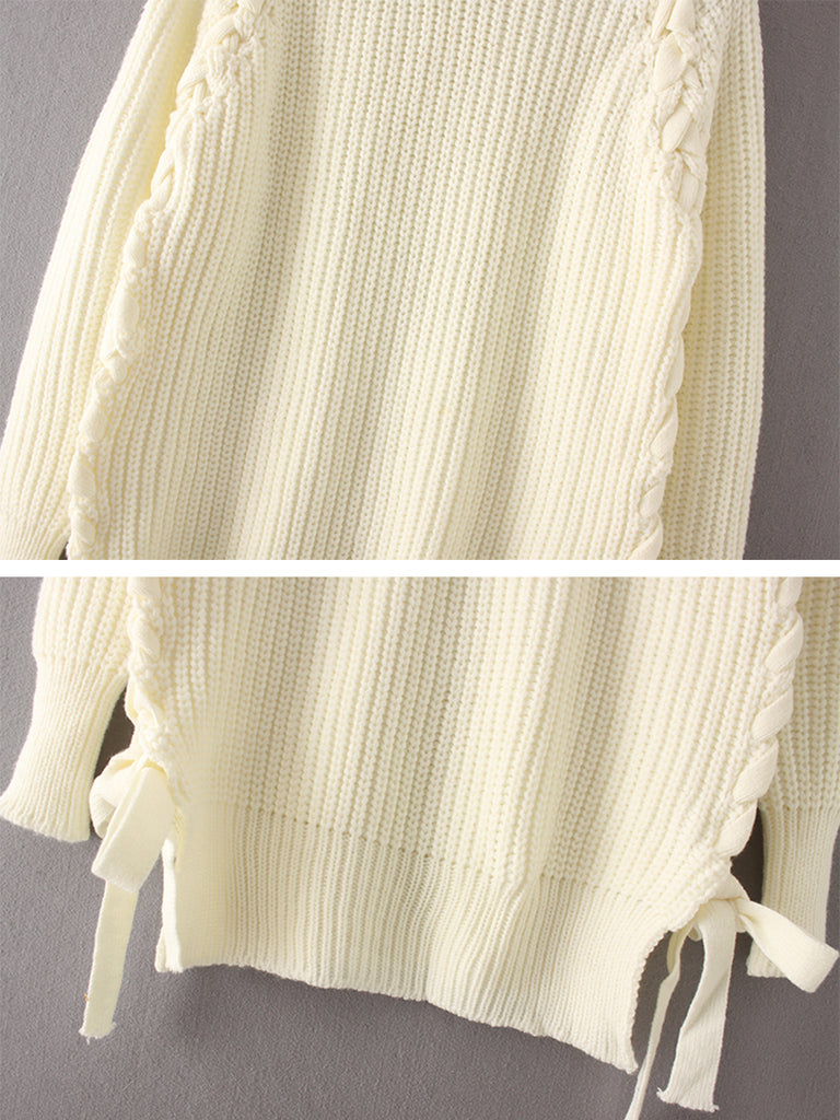 Women's Pullover O Neck Long Sleeve Solid Color All Match Knitwear