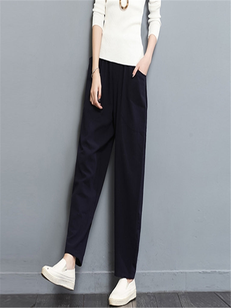 Women's Pants Solid Color Elastic Waist Casual Pants