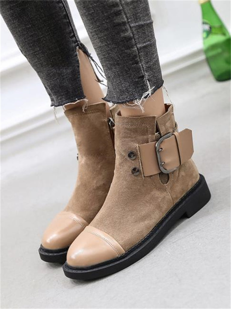 Women's Martin Boots Chic All Match Round Toe Low Heel Buckle Side Zipper Ankle Boots