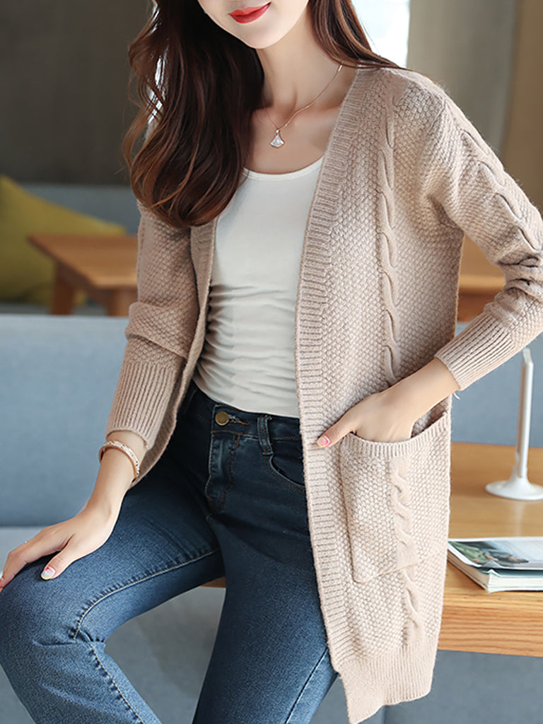 Women's Cardigan Open Front Long Sleeve Solid Outwear