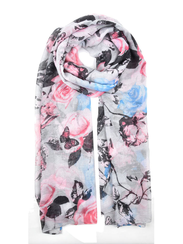 Women's Scarves Stylish Design Floral Rose Butterfly Pattern Long Length Scarves