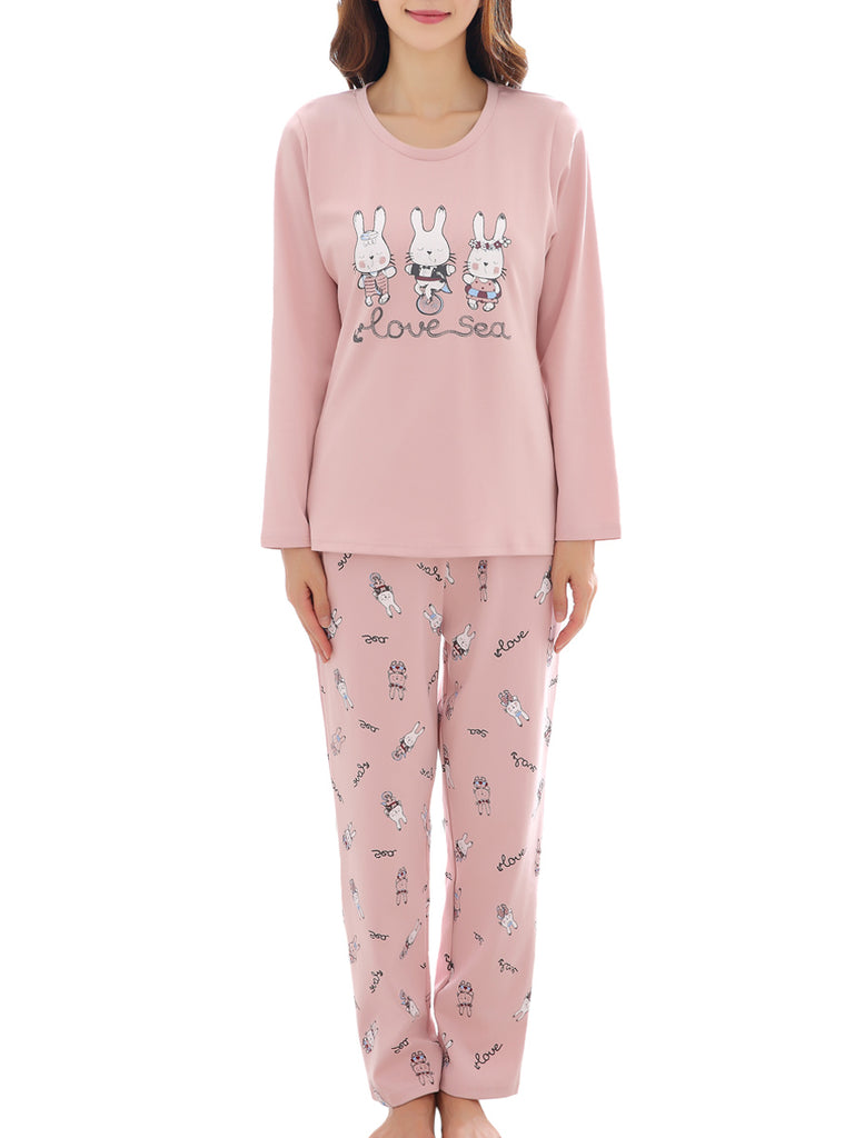 Women's Pajama Set Cute Rabbit Cartoon Pattern O Neck Long Sleeve Sweet Home Suit