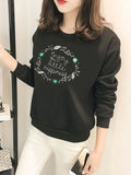 Women's Sweatshirt O Neck Long Sleeve Print Casual Sweatshirt