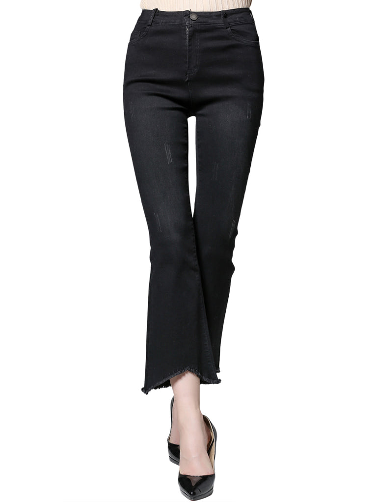 Women's Bell Bottom Solid Color Frayed Pocket Plus Size Casual Pants