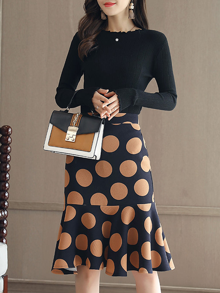 Women's Suits O Neck Long Sleeve Top Polka Dot Skirt Suits