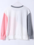 Women's Sweatshirt O Neck Long Sleeve Color Block Sweatshirt