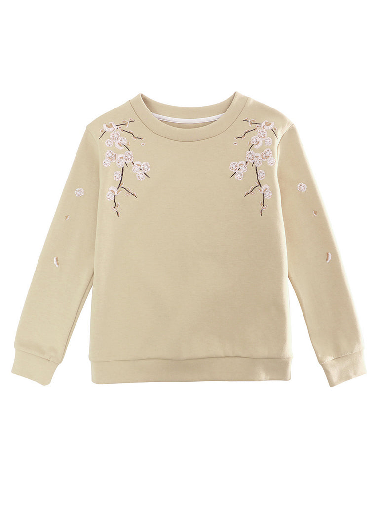 Women's Sweatshirt O Neck Long Sleeve Embroidery Sweatshirt