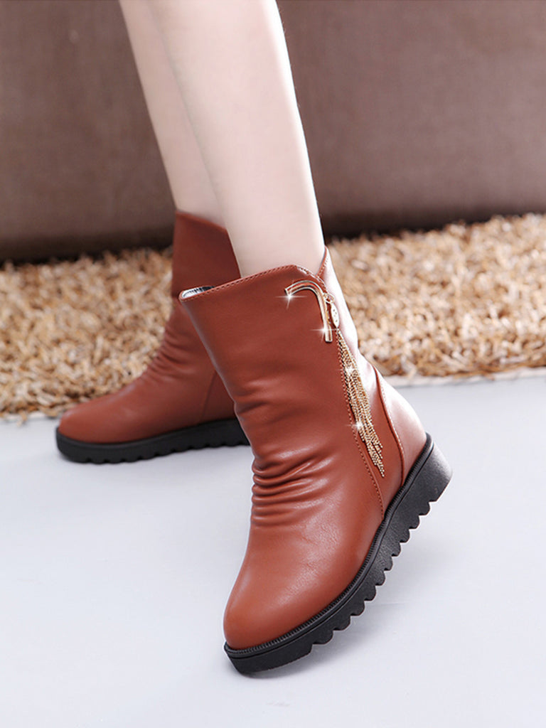 Women's Martin Boots Thick Sole Solid Color Anti Skid Ladylike Faddish Shoes